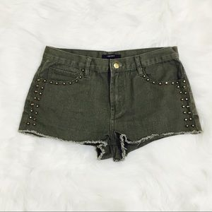 Forever 21 Army Green Studded Shorts!